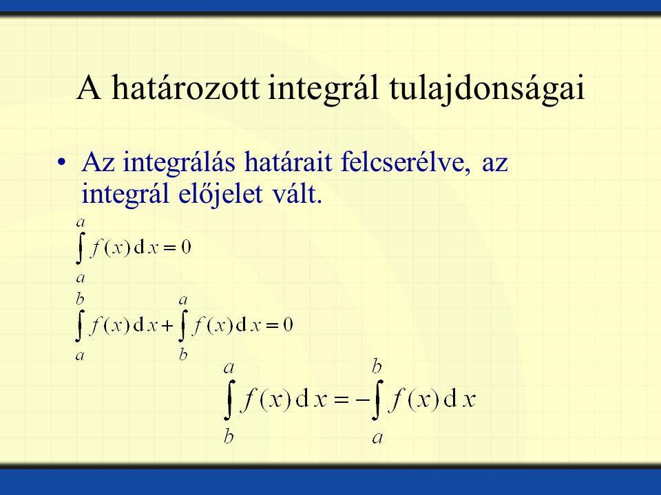 A határozott integrál tulajdonságai Az integrálás határait felcserélve, az integrál előjelet vált.