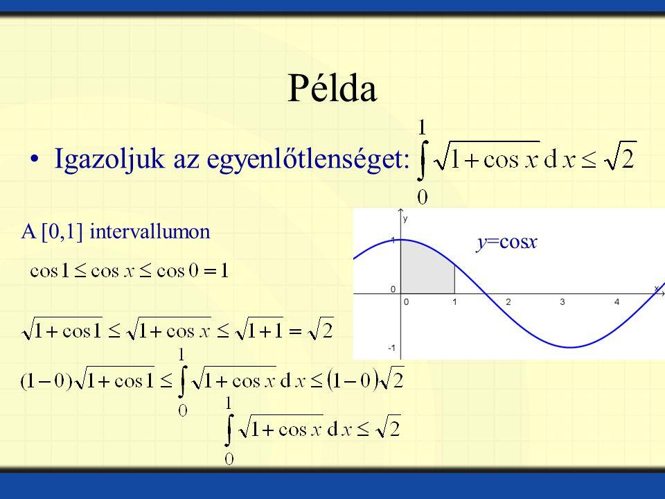 Példa Igazoljuk az egyenlőtlenséget: A [0,1] intervallumon y=cosx