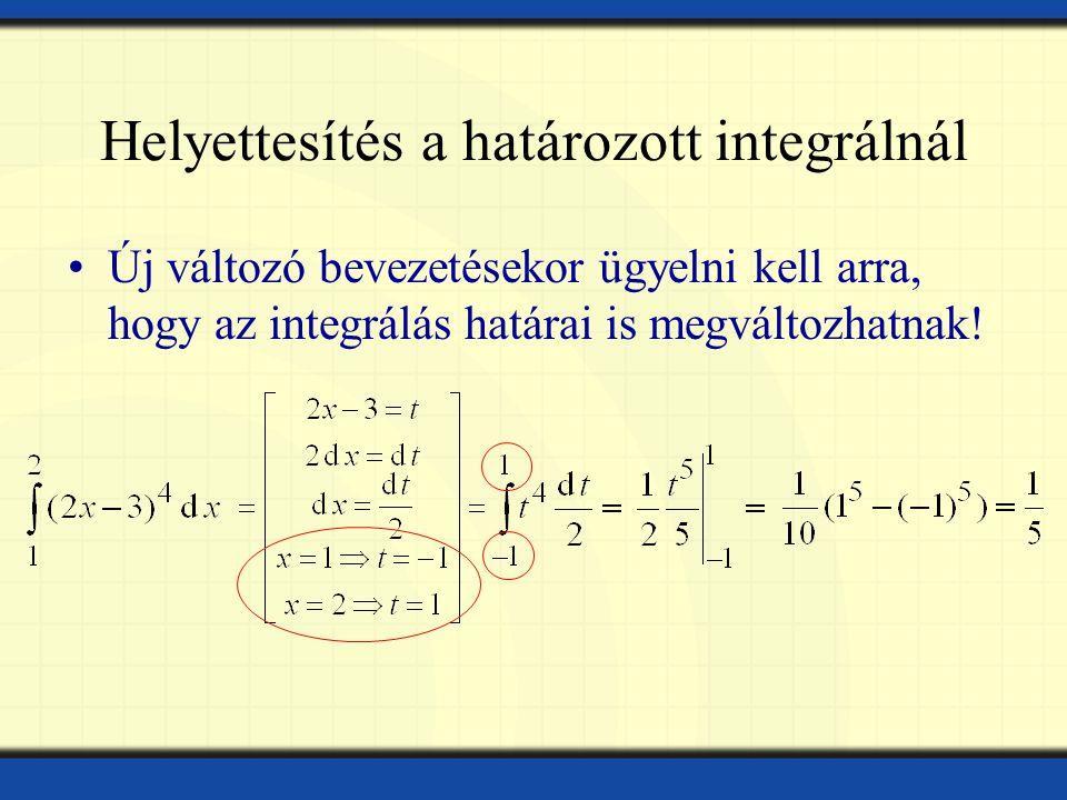 Helyettesítés a határozott integrálnál Új változó bevezetésekor ügyelni kell arra, hogy az integrálás határai is megváltozhatnak!