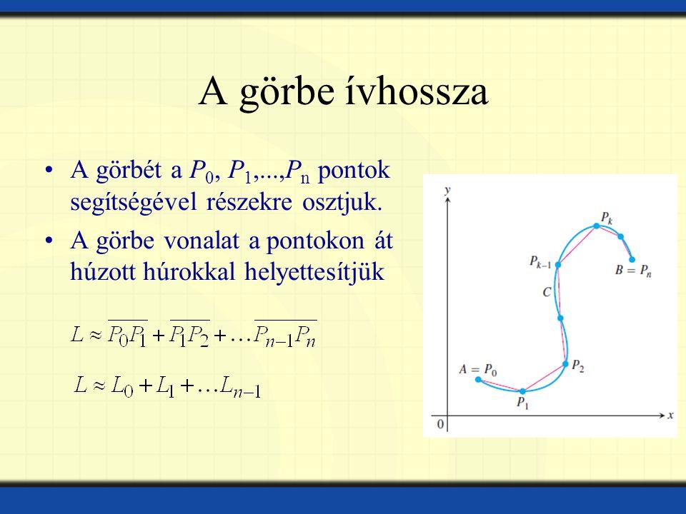 A görbe ívhossza A görbét a P 0, P 1,...,P n pontok segítségével részekre osztjuk.