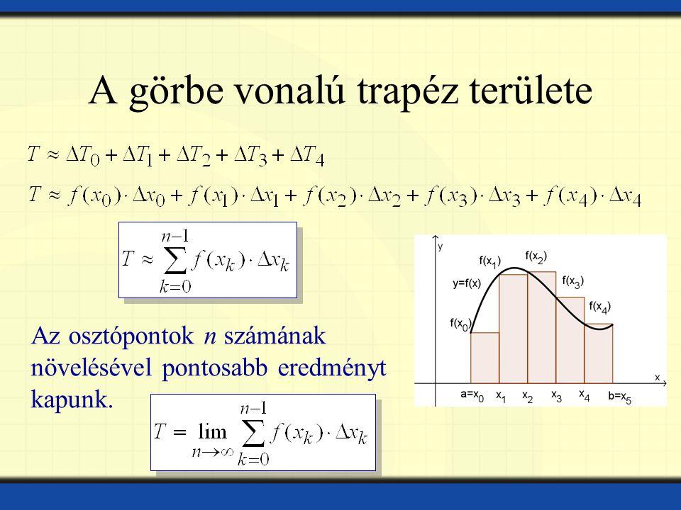 A görbe vonalú trapéz területe Az osztópontok n számának növelésével pontosabb eredményt kapunk.