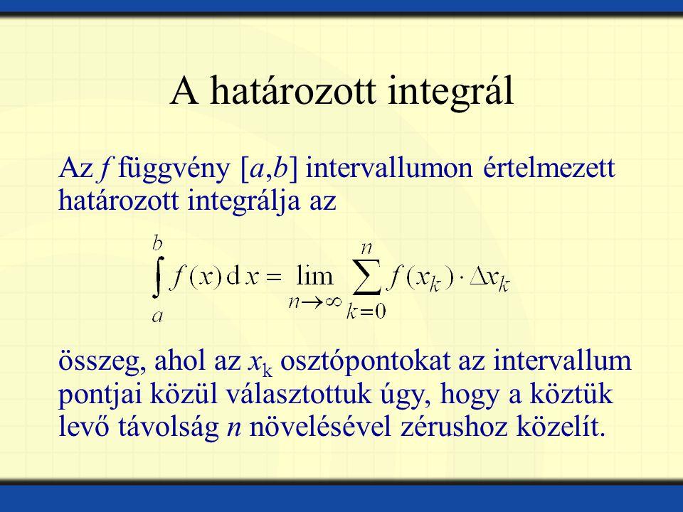 A határozott integrál Az f függvény [a,b] intervallumon értelmezett határozott integrálja az összeg, ahol az x k osztópontokat az intervallum pontjai közül választottuk úgy, hogy a köztük levő távolság n növelésével zérushoz közelít.
