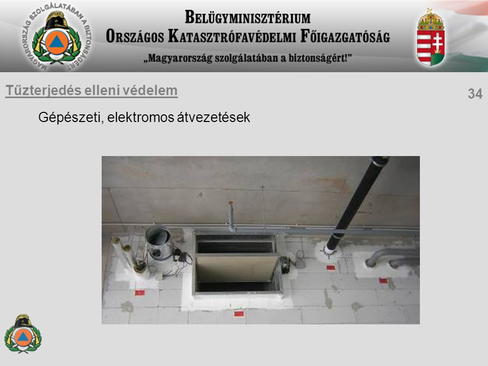 Gépészeti, elektromos átvezetések 34 Tűzterjedés elleni védelem