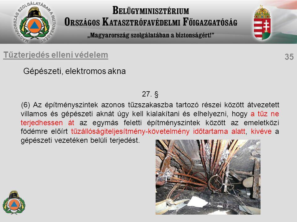 Gépészeti, elektromos akna 27. § (6) Az építményszintek azonos tűzszakaszba tartozó részei között átvezetett villamos és gépészeti aknát úgy kell kial