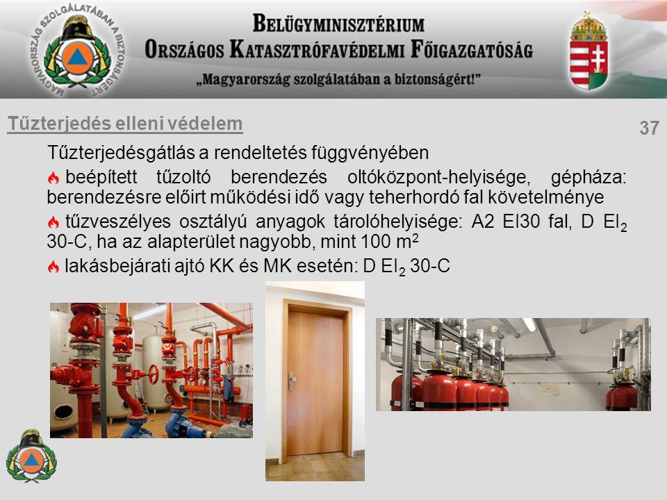 Tűzterjedésgátlás a rendeltetés függvényében beépített tűzoltó berendezés oltóközpont-helyisége, gépháza: berendezésre előirt működési idő vagy teherh