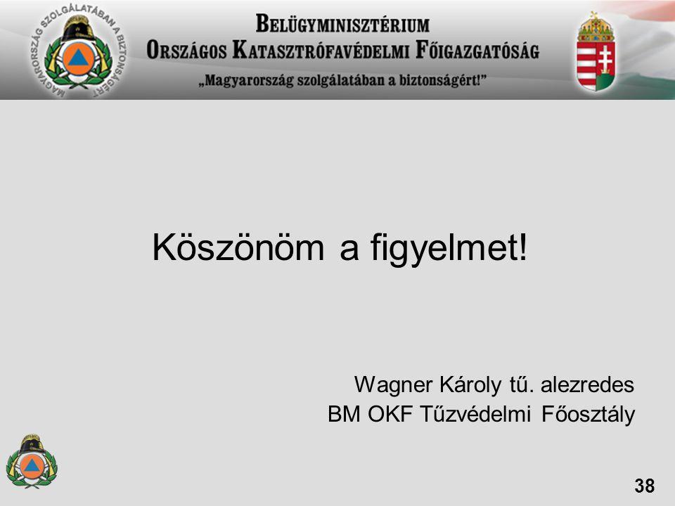 Köszönöm a figyelmet! Wagner Károly tű. alezredes BM OKF Tűzvédelmi Főosztály 38