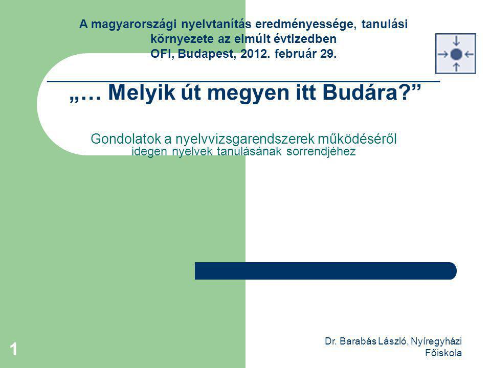 """Dr. Barabás László, Nyíregyházi Főiskola 1 """"… Melyik út megyen itt Budára?"""" Gondolatok a nyelvvizsgarendszerek működéséről idegen nyelvek tanulásának"""
