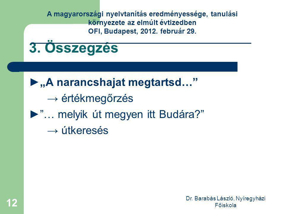Dr. Barabás László, Nyíregyházi Főiskola 12 3.
