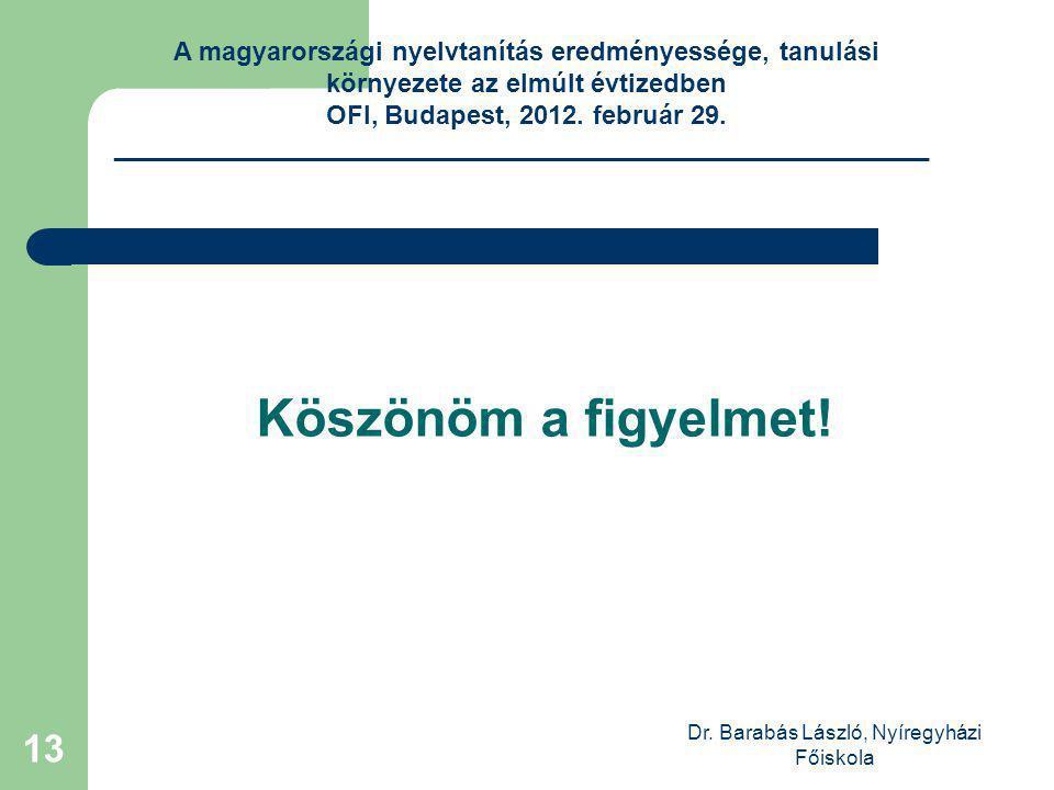 Dr. Barabás László, Nyíregyházi Főiskola 13 Köszönöm a figyelmet.