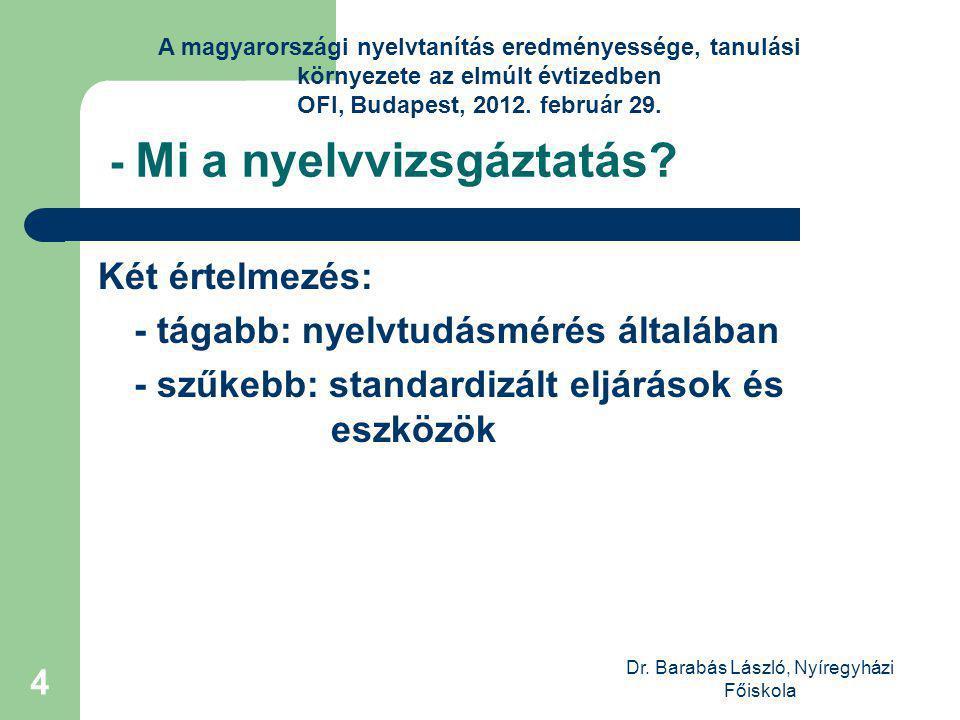 Dr. Barabás László, Nyíregyházi Főiskola 4 - Mi a nyelvvizsgáztatás.