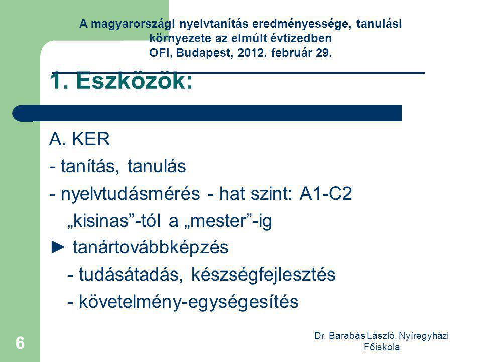 Dr. Barabás László, Nyíregyházi Főiskola 6 1. Eszközök: A.