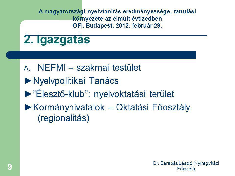 Dr. Barabás László, Nyíregyházi Főiskola 9 2. Igazgatás A.