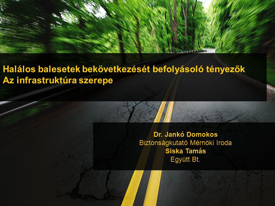 Halálos balesetek bekövetkezését befolyásoló tényezők Az infrastruktúra szerepe Dr.