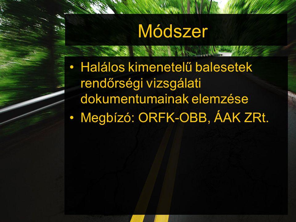 Módszer Halálos kimenetelű balesetek rendőrségi vizsgálati dokumentumainak elemzése Megbízó: ORFK-OBB, ÁAK ZRt.