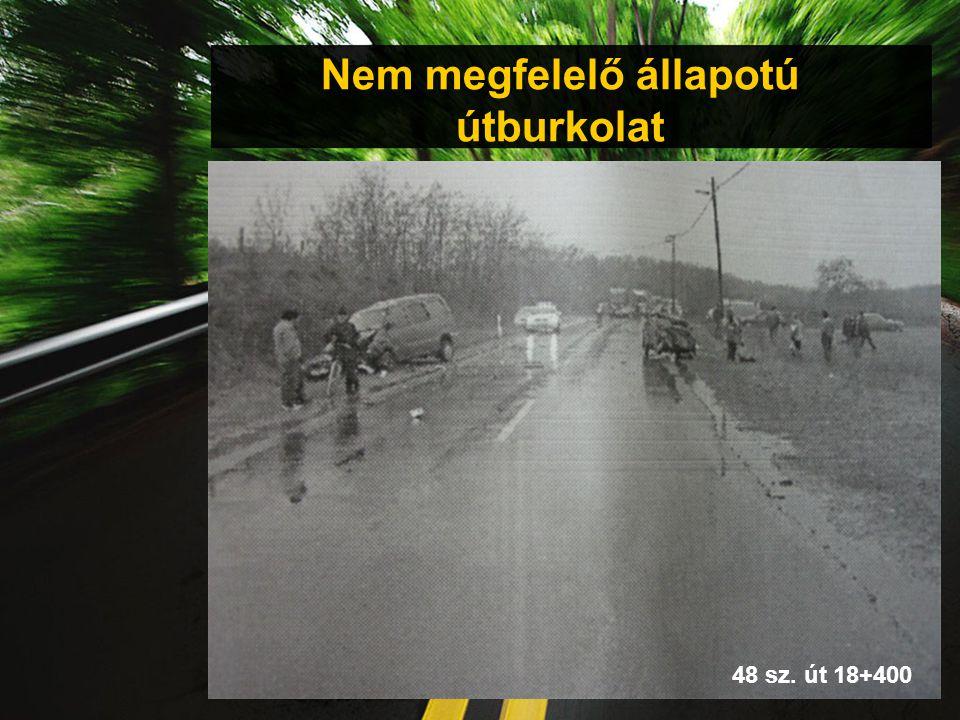 Nem megfelelő állapotú útburkolat 48 sz. út 18+400