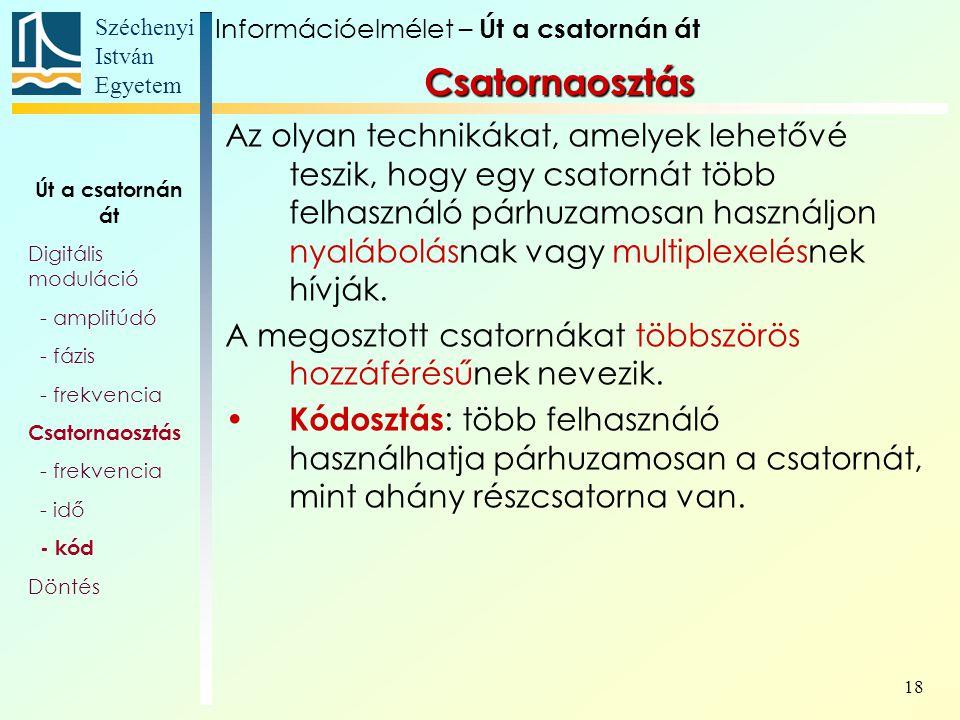 Széchenyi István Egyetem 18 Az olyan technikákat, amelyek lehetővé teszik, hogy egy csatornát több felhasználó párhuzamosan használjon nyalábolásnak v