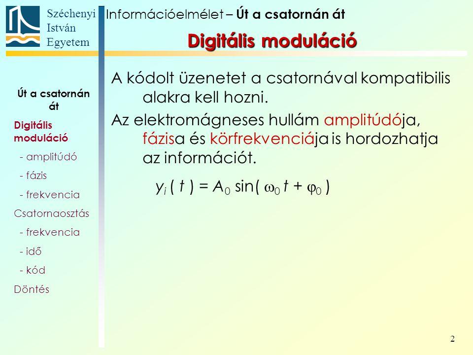 Széchenyi István Egyetem 2 A kódolt üzenetet a csatornával kompatibilis alakra kell hozni. Az elektromágneses hullám amplitúdója, fázisa és körfrekven