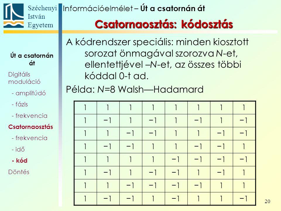 Széchenyi István Egyetem 20 A kódrendszer speciális: minden kiosztott sorozat önmagával szorozva N-et, ellentettjével –N-et, az összes többi kóddal 0-