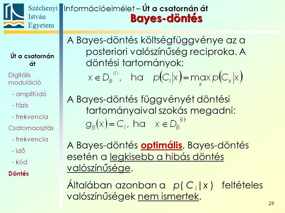 Széchenyi István Egyetem 29 A Bayes-döntés költségfüggvénye az a posteriori valószínűség reciproka. A döntési tartományok: A Bayes-döntés függvényét d