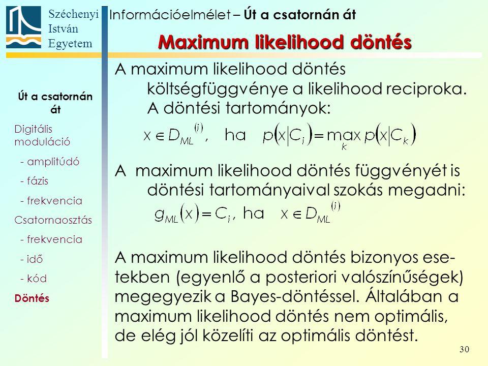 Széchenyi István Egyetem 30 A maximum likelihood döntés költségfüggvénye a likelihood reciproka. A döntési tartományok: A maximum likelihood döntés fü