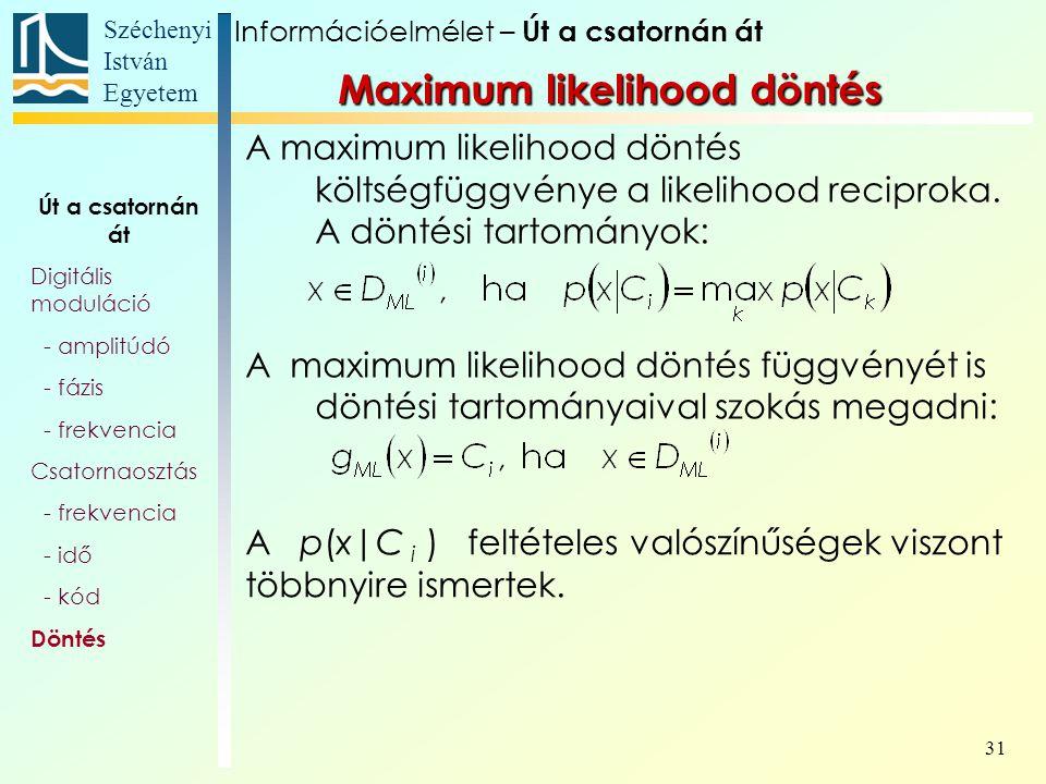 Széchenyi István Egyetem 31 A maximum likelihood döntés költségfüggvénye a likelihood reciproka. A döntési tartományok: A maximum likelihood döntés fü