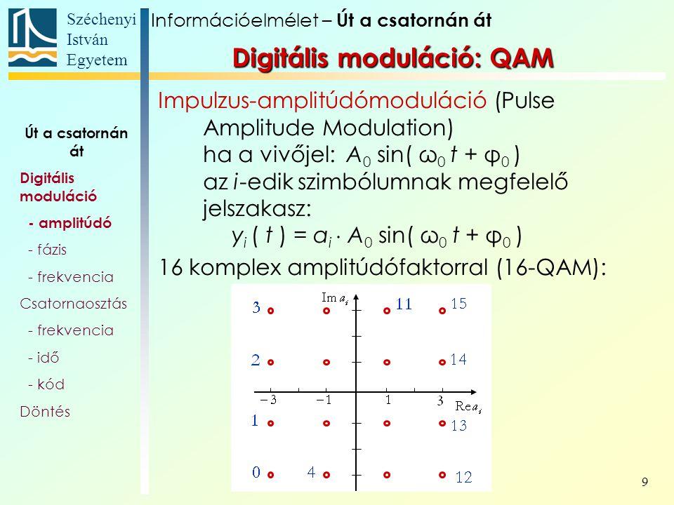 Széchenyi István Egyetem 9 Digitális moduláció: QAM Impulzus-amplitúdómoduláció (Pulse Amplitude Modulation) ha a vivőjel: A 0 sin( ω 0 t + φ 0 ) az i