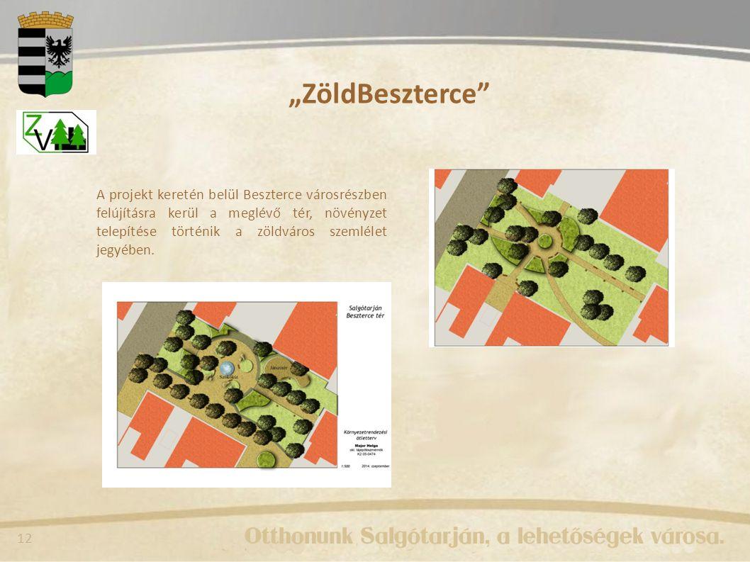 """12 """"ZöldBeszterce A projekt keretén belül Beszterce városrészben felújításra kerül a meglévő tér, növényzet telepítése történik a zöldváros szemlélet jegyében."""