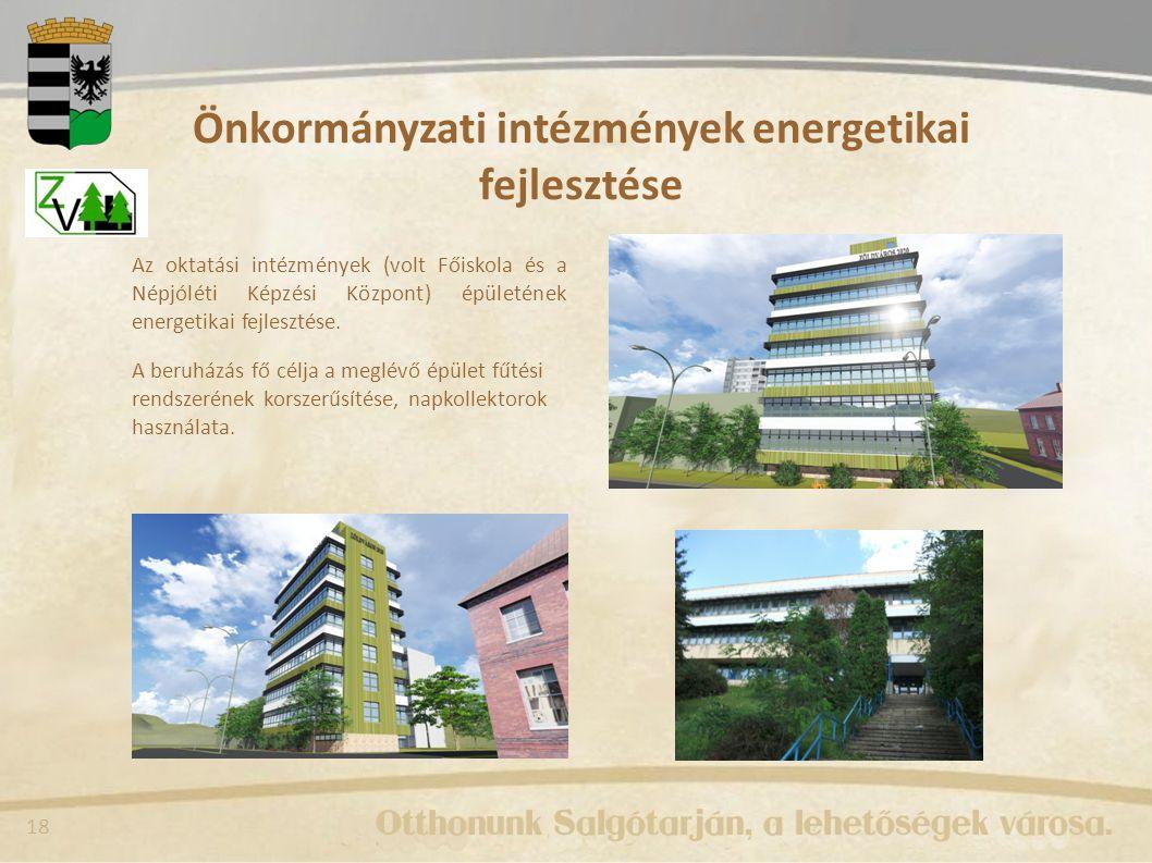 18 Önkormányzati intézmények energetikai fejlesztése Az oktatási intézmények (volt Főiskola és a Népjóléti Képzési Központ) épületének energetikai fejlesztése.