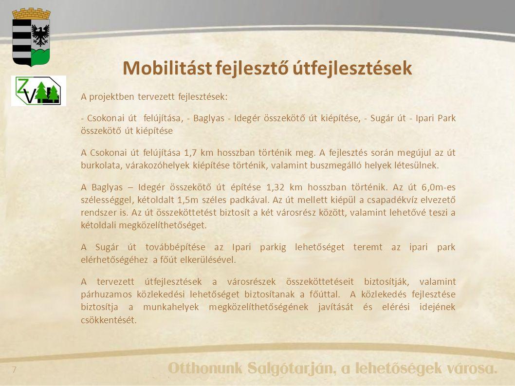 8 Mobilitást fejlesztő útfejlesztések Baglyas – Idegér Ipari park – Sugár út