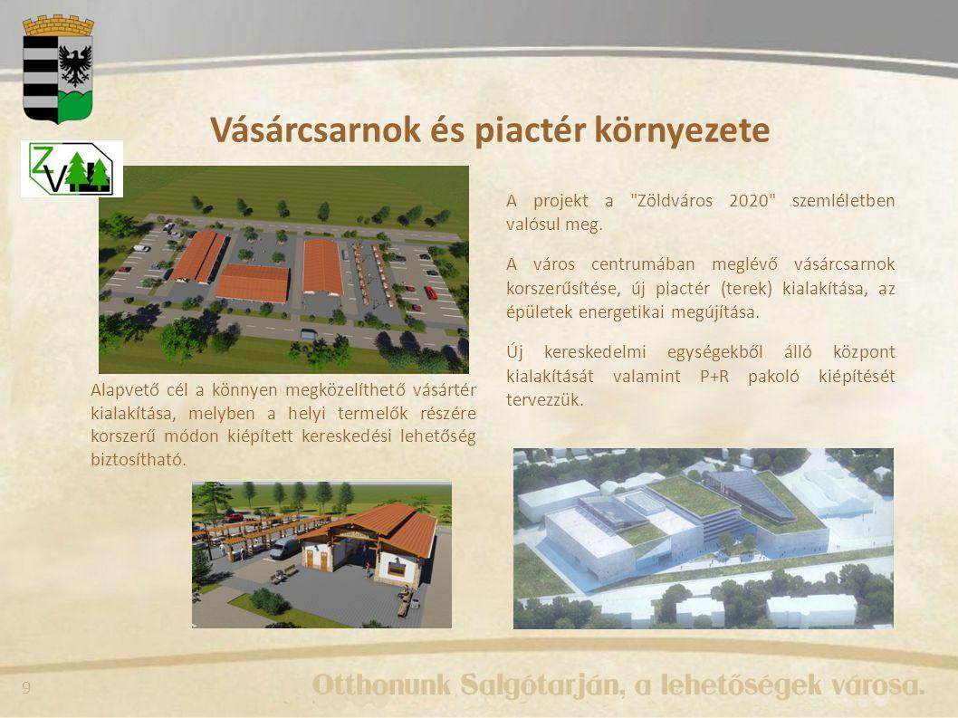 9 Vásárcsarnok és piactér környezete A projekt a Zöldváros 2020 szemléletben valósul meg.
