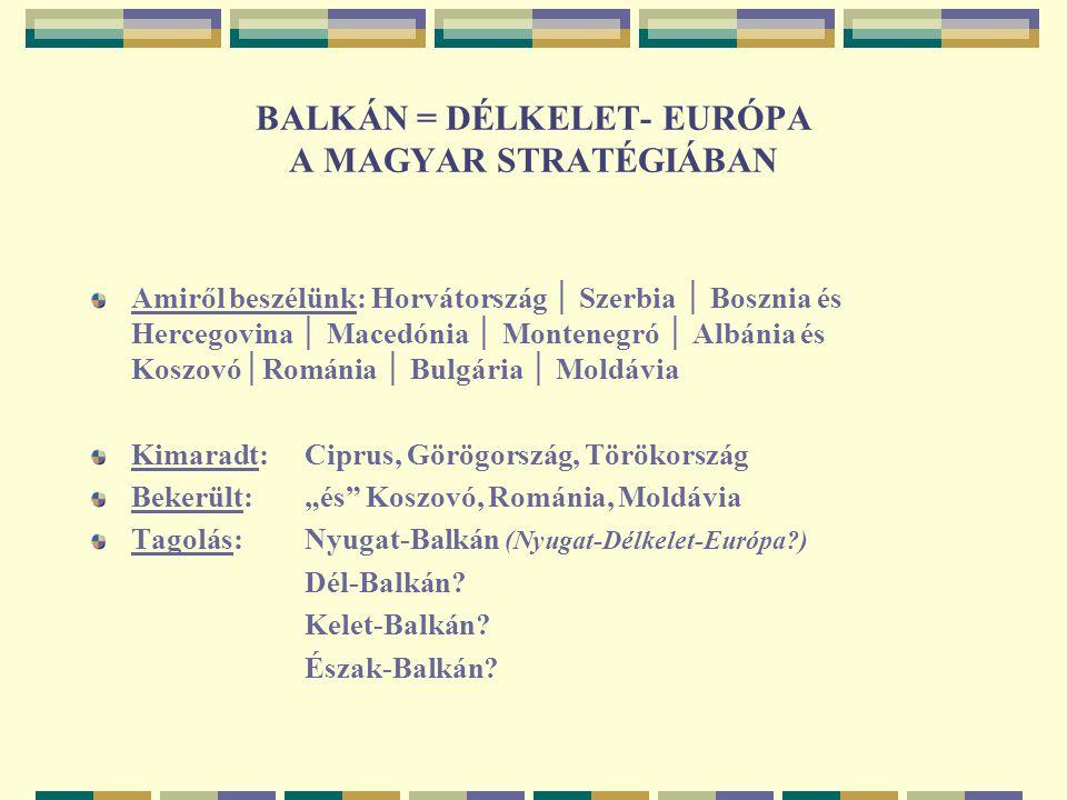 MAGYARORSZÁG KÜLÖNLEGES HELYZETE Az elmúlt évtizedben ellentétes folyamatok az EU-ban és a Balkánon (post-Jugoszláviában): integráció itt és dezintegráció ott Magyar összekötő (híd) szerepek az EU és a Balkán között: Földrajzilag (jövet-menet, úton-útfélen Bécs és Isztambul között) Politikailag (Mo.