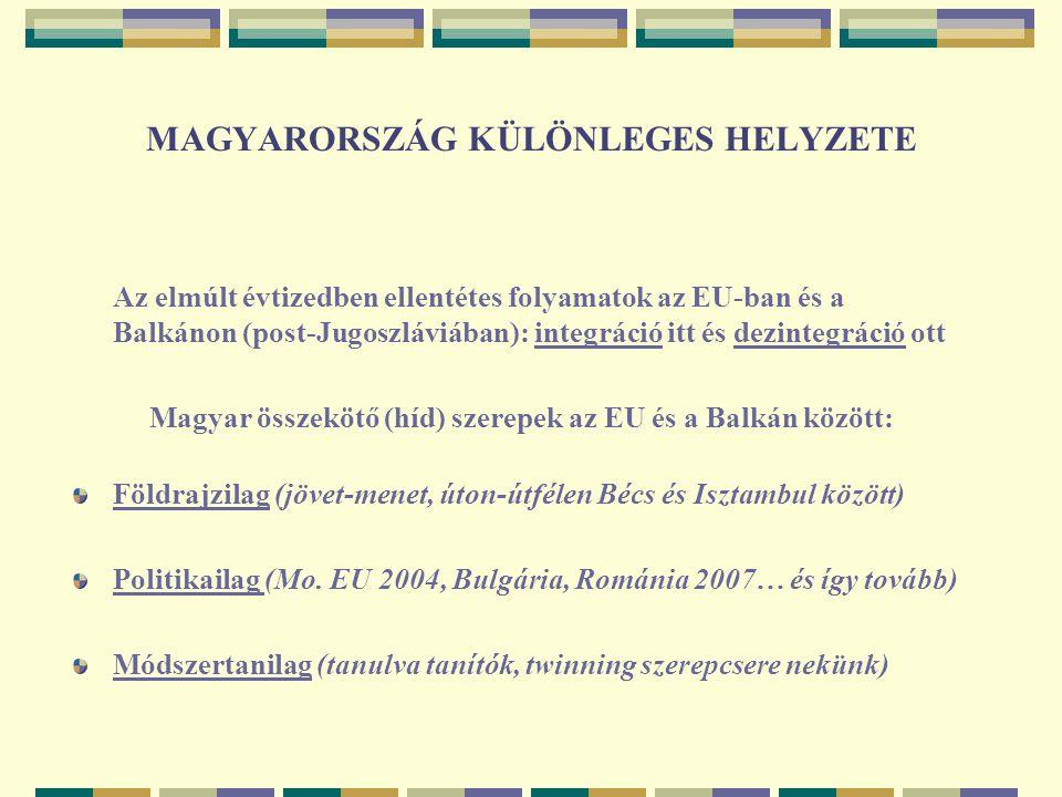 A TÉRSÉG NÉHÁNY SORBAN I.Gazdasági állapot, EU-érettség igen heterogén Bulgária, Románia 2007.