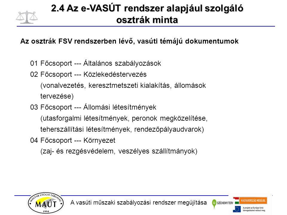 A vasúti műszaki szabályozási rendszer megújítása Az osztrák FSV rendszerben lévő, vasúti témájú dokumentumok 01 Főcsoport --- Általános szabályozások 02 Főcsoport --- Közlekedéstervezés (vonalvezetés, keresztmetszeti kialakítás, állomások tervezése) 03 Főcsoport --- Állomási létesítmények (utasforgalmi létesítmények, peronok megközelítése, teherszállítási létesítmények, rendezőpályaudvarok) 04 Főcsoport --- Környezet (zaj- és rezgésvédelem, veszélyes szállítmányok) 2.4 Az e-VASÚT rendszer alapjául szolgáló osztrák minta