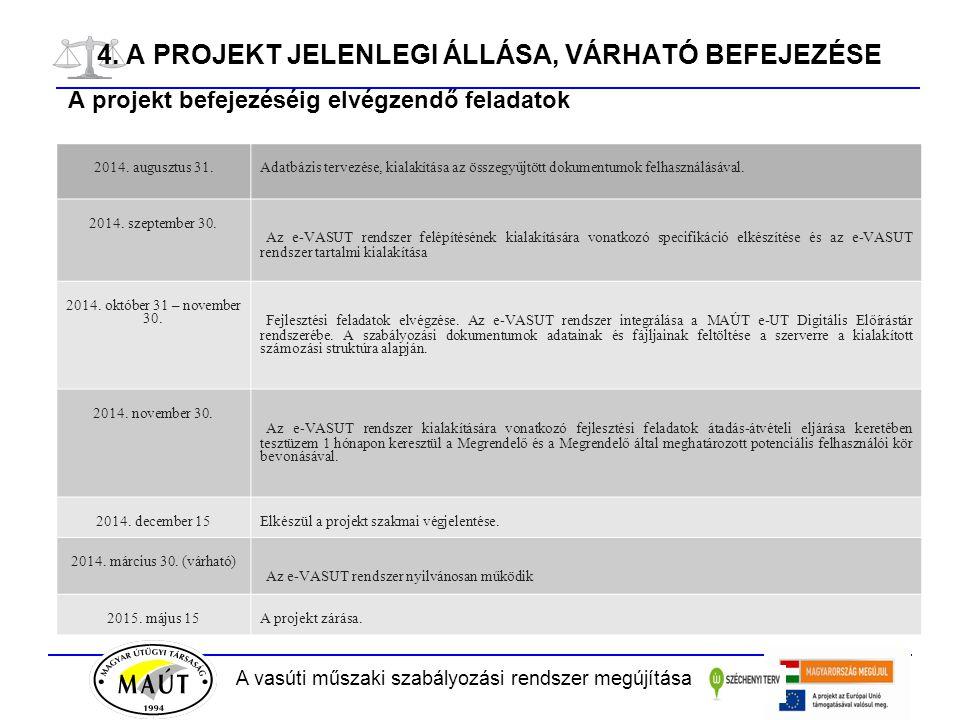 A vasúti műszaki szabályozási rendszer megújítása 4. A PROJEKT JELENLEGI ÁLLÁSA, VÁRHATÓ BEFEJEZÉSE A projekt befejezéséig elvégzendő feladatok 2014.