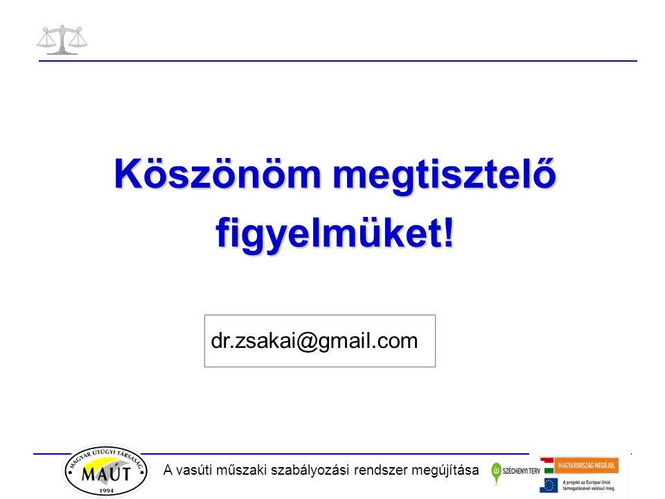 A vasúti műszaki szabályozási rendszer megújítása Köszönöm megtisztelő figyelmüket! dr.zsakai@gmail.com