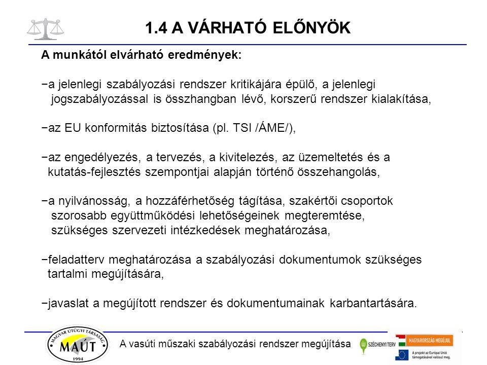 A vasúti műszaki szabályozási rendszer megújítása 2.3 AZ e-VASÚT RENDSZER Döntési pontok 3.) El kell dönteni, hogy a szabályozási hierarchia mely dokumentumai kerüljenek be a rendszerbe: A.) Aktualizált felsorolásként, de tartalmi hozzáférés nélkül: - törvények és rendeletek útján életbe léptetett műszaki szabályozások, - harmonizált magyar szabványok, - magyar szabványok, - MÁV szabványok, - UIC CODE-ok, - érvényes műszaki engedélyek (CE, ETA, ÉME), - műszaki szállítási feltételek (?), - általános érvényű műszaki és üzemeltetési szabályozások B.) Tartalmi hozzáféréssel, díj fizetése ellenében: - tervezési és egyéb szabályzatok, - vasútvállalatok műszaki utasításai és előírásai, - vasútvállalatok közérdekű belső műszaki rendelkezései.
