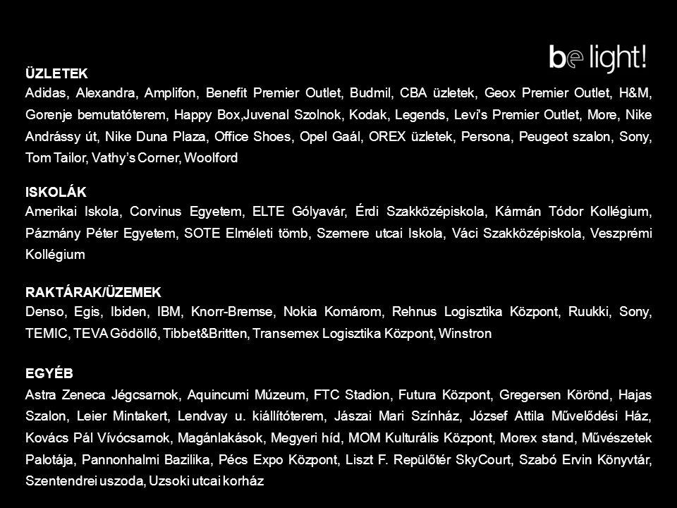ÜZLETEK Adidas, Alexandra, Amplifon, Benefit Premier Outlet, Budmil, CBA üzletek, Geox Premier Outlet, H&M, Gorenje bemutatóterem, Happy Box,Juvenal Szolnok, Kodak, Legends, Levi s Premier Outlet, More, Nike Andrássy út, Nike Duna Plaza, Office Shoes, Opel Gaál, OREX üzletek, Persona, Peugeot szalon, Sony, Tom Tailor, Vathy's Corner, Woolford ISKOLÁK Amerikai Iskola, Corvinus Egyetem, ELTE Gólyavár, Érdi Szakközépiskola, Kármán Tódor Kollégium, Pázmány Péter Egyetem, SOTE Elméleti tömb, Szemere utcai Iskola, Váci Szakközépiskola, Veszprémi Kollégium RAKTÁRAK/ÜZEMEK Denso, Egis, Ibiden, IBM, Knorr-Bremse, Nokia Komárom, Rehnus Logisztika Központ, Ruukki, Sony, TEMIC, TEVA Gödöllő, Tibbet&Britten, Transemex Logisztika Központ, Winstron EGYÉB Astra Zeneca Jégcsarnok, Aquincumi Múzeum, FTC Stadion, Futura Központ, Gregersen Körönd, Hajas Szalon, Leier Mintakert, Lendvay u.