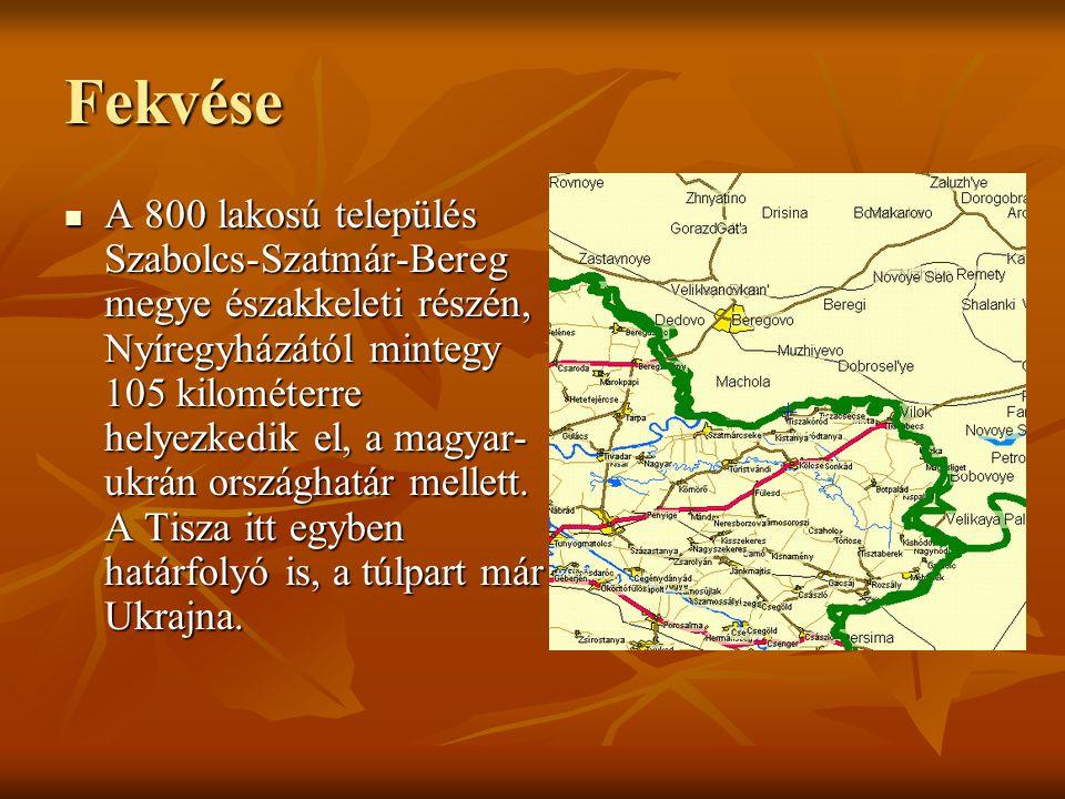 Fekvése A 800 lakosú település Szabolcs-Szatmár-Bereg megye északkeleti részén, Nyíregyházától mintegy 105 kilométerre helyezkedik el, a magyar- ukrán