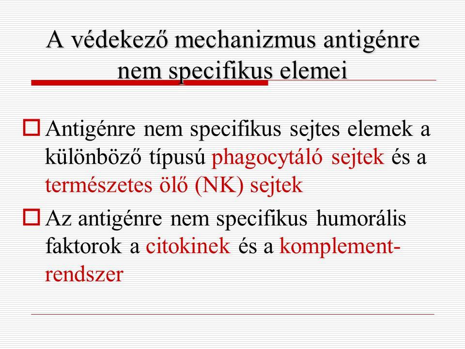 A védekező mechanizmus antigénre nemspecifikus elemei A védekező mechanizmus antigénre nem specifikus elemei  Antigénre nem specifikus sejtes elemek a különböző típusú phagocytáló sejtek és a természetes ölő (NK) sejtek  Az antigénre nem specifikus humorális faktorok a citokinek és a komplement- rendszer