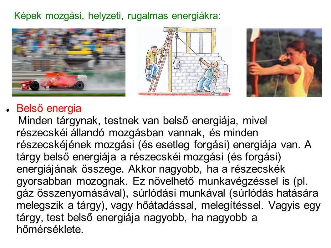 Képek mozgási, helyzeti, rugalmas energiákra: Belső energia Minden tárgynak, testnek van belső energiája, mivel részecskéi állandó mozgásban vannak, és minden részecskéjének mozgási (és esetleg forgási) energiája van.