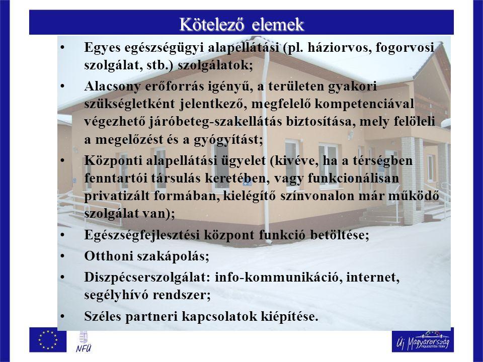 Kötelező elemek Egyes egészségügyi alapellátási (pl.