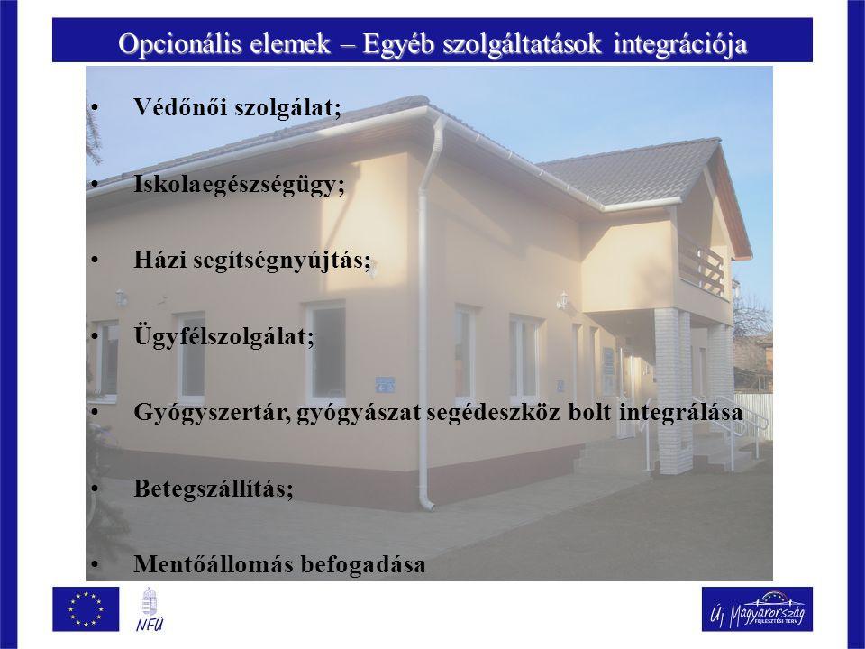 Opcionális elemek – Egyéb szolgáltatások integrációja Védőnői szolgálat; Iskolaegészségügy; Házi segítségnyújtás; Ügyfélszolgálat; Gyógyszertár, gyógyászat segédeszköz bolt integrálása Betegszállítás; Mentőállomás befogadása