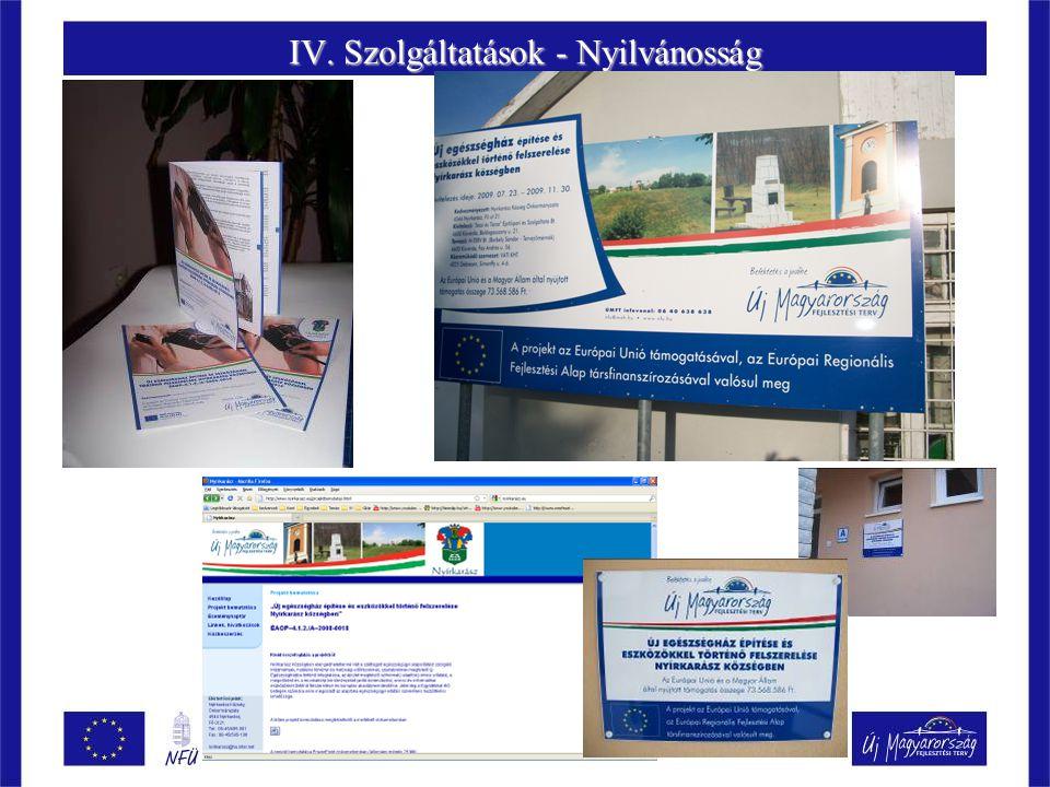 IV. Szolgáltatások - Nyilvánosság