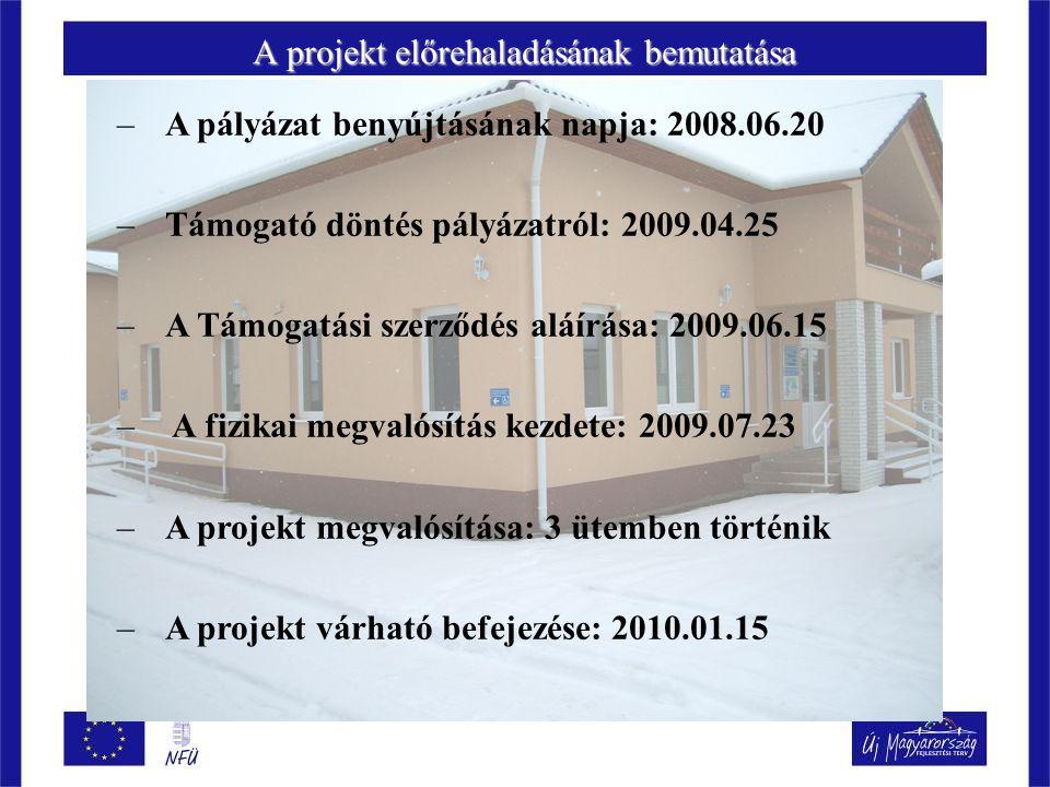 A projekt előrehaladásának bemutatása –A pályázat benyújtásának napja: 2008.06.20 –Támogató döntés pályázatról: 2009.04.25 –A Támogatási szerződés aláírása: 2009.06.15 – A fizikai megvalósítás kezdete: 2009.07.23 –A projekt megvalósítása: 3 ütemben történik –A projekt várható befejezése: 2010.01.15