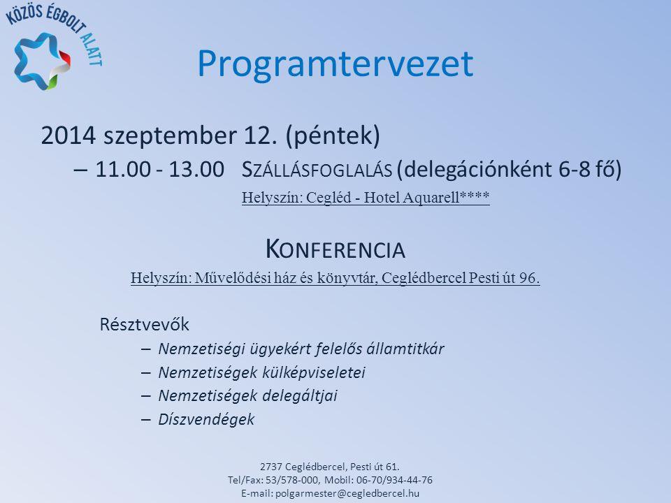 Programtervezet 2014 szeptember 12.