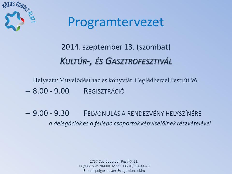 Programtervezet 2014. szeptember 13.