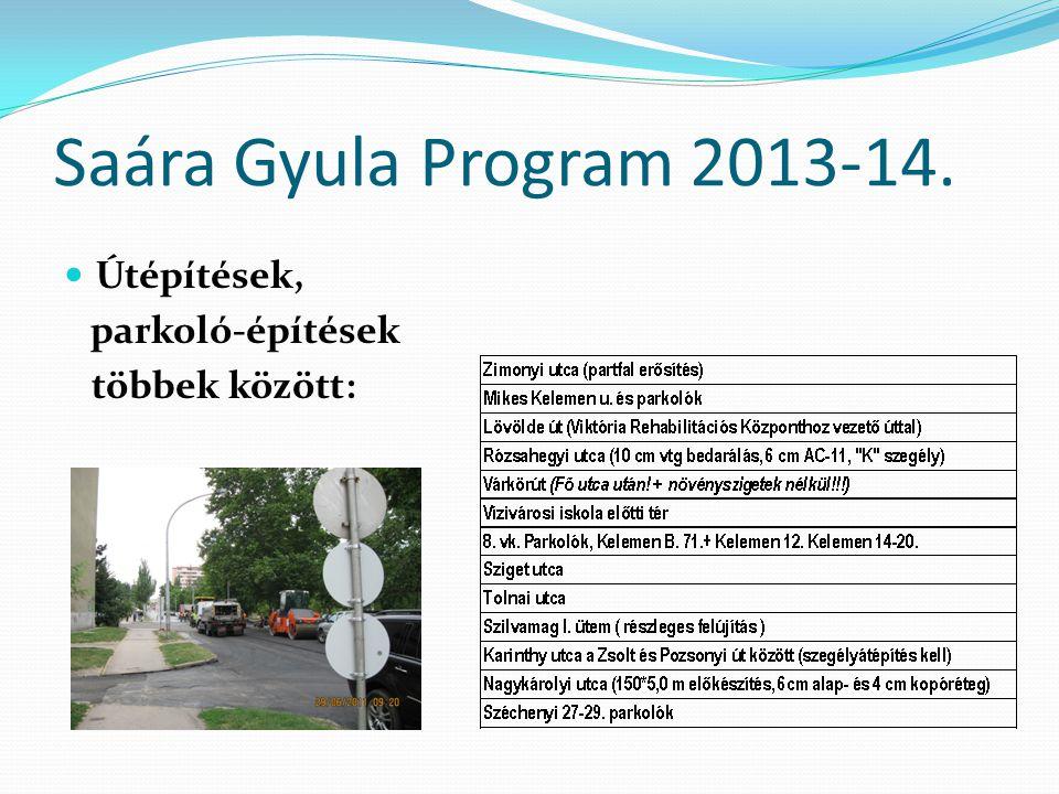 Saára Gyula Program 2013-14. Útépítések, parkoló-építések többek között: