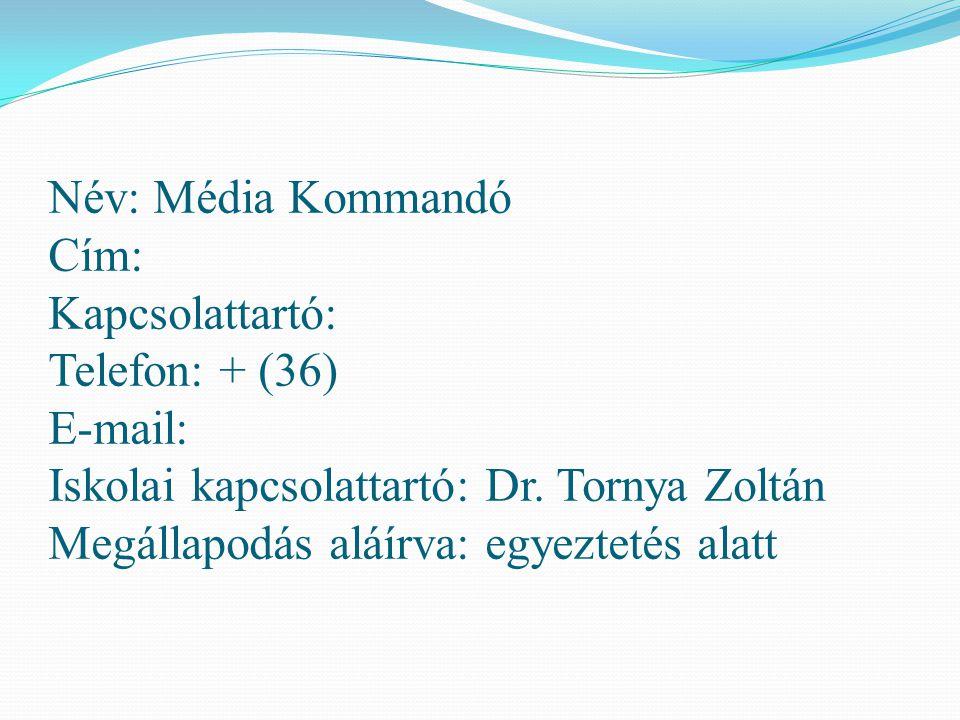 Név: Média Kommandó Cím: Kapcsolattartó: Telefon: + (36) E-mail: Iskolai kapcsolattartó: Dr.