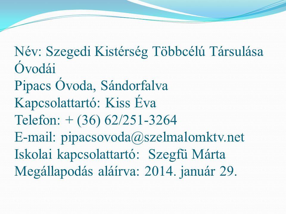 Név: Szegedi Kistérség Többcélú Társulása Óvodái Pipacs Óvoda, Sándorfalva Kapcsolattartó: Kiss Éva Telefon: + (36) 62/251-3264 E-mail: pipacsovoda@szelmalomktv.net Iskolai kapcsolattartó: Szegfü Márta Megállapodás aláírva: 2014.