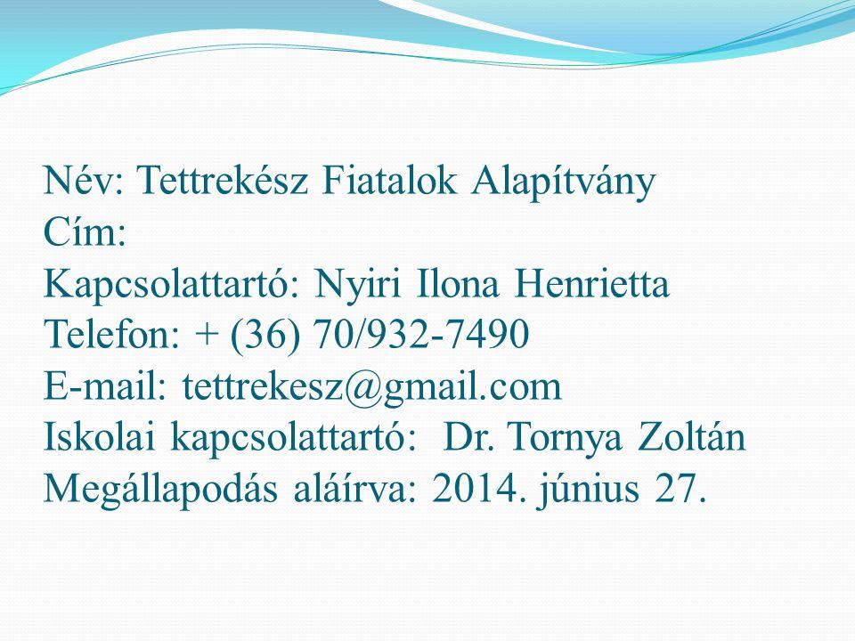 Név: Tettrekész Fiatalok Alapítvány Cím: Kapcsolattartó: Nyiri Ilona Henrietta Telefon: + (36) 70/932-7490 E-mail: tettrekesz@gmail.com Iskolai kapcsolattartó: Dr.